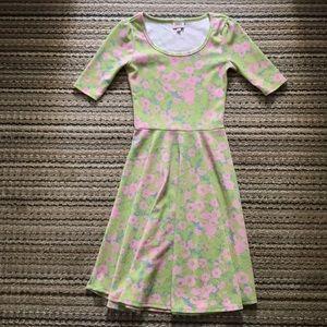 LuLaRoe green/pink floral stretchy dress, size XS